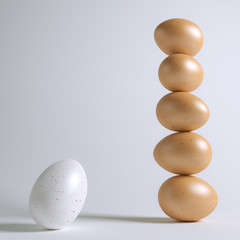 Stability Team Of Glossy Eggs (Conceptual Picture)