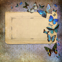 Vintage grunge background with blue butterflies
