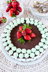 Chocolate Cake with mint cream and Strawberries