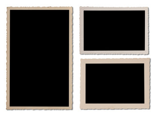 Antique photo frame set with wavy edges