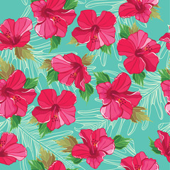 Seamless floral pattern, hand-drawing. Vector illustration.