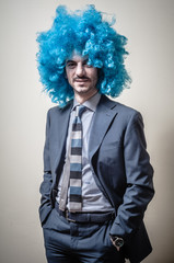 funny businessman with blue wig