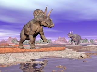 Diceratops dinosaurs in nature - 3D render