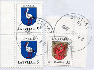 "Canceled latvian stamps ""Dagda"" and ""Staicele"""
