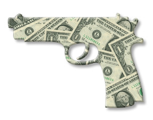 Model of a gun with money, dollar texture isolated on white