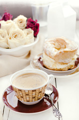 Choux Pastry Ring Paris-Brest, Coffee, Dried Roses