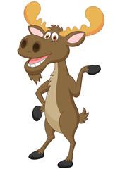 Moose cartoon waving
