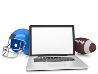 Laptop, football helmet and ball