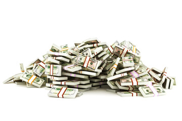 Pile of money on a white background