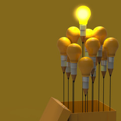 drawing idea pencil and light bulb concept think outside the box