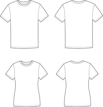 Vector illustration of men's and women's t-shirts