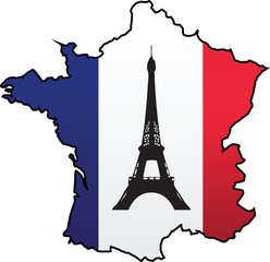 French Flag Country Silhouette and Symbol Combination