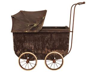 Nineteenth Century baby pram isolated on white