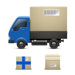 truck with a gift vector icon xxl