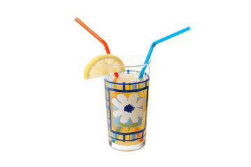 lemonade in a glass beaker with tubes