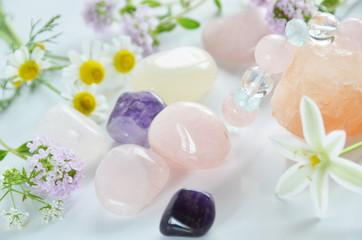 gemstones with herbs