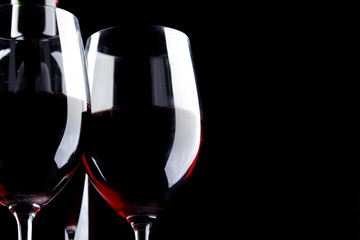 Red Wine Glass silhouette Black Background