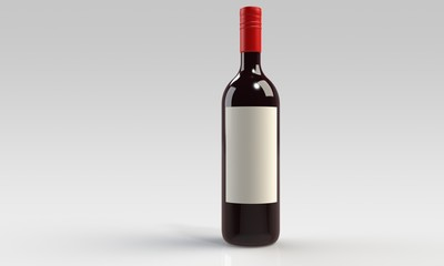 a bottle of red wine isolated