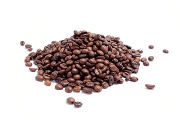 a pile of coffee beans on white background