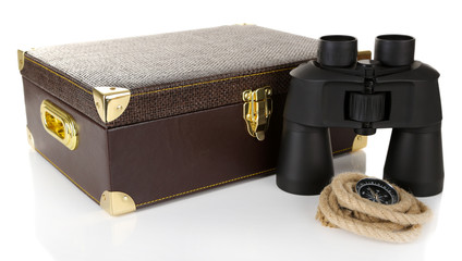 Black modern binoculars with suitcase isolated on white