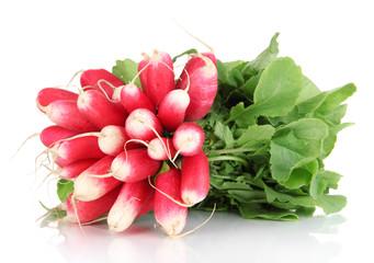 Fototapeta Small garden radish with leaves isolated on white obraz