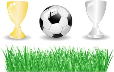 Fußball Pokal Gras Set
