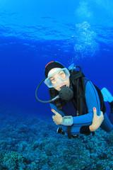 Female Scuba Diver in ocean