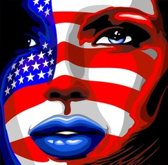 Photo Blinds Draw Usa Flag on Girl's Portrait-Bandiera Stati Uniti su Viso Donna