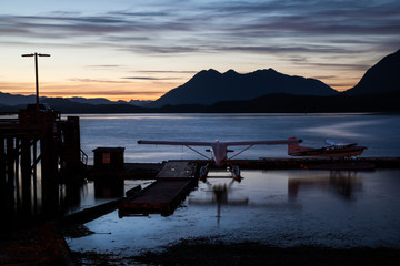 Seaplane in Tofino at Sunset, Vancouver Island, Canada