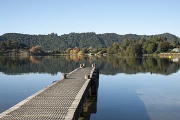 Scenic beauty of calm remote lake.