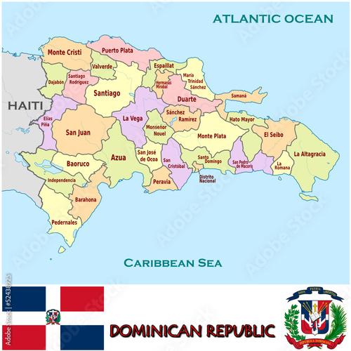 dominican Republic emblem map symbol administrative divisions Stock