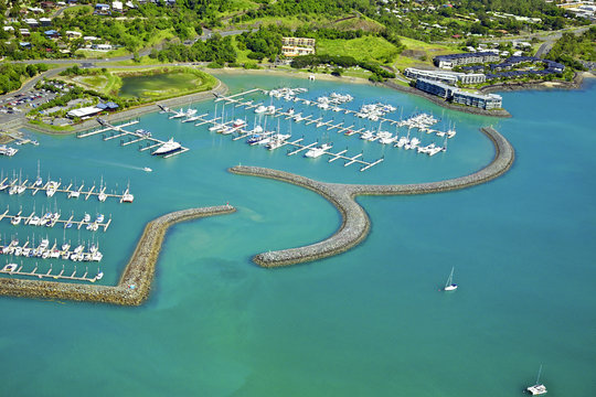 Aerial of seaside town in Whitsundays