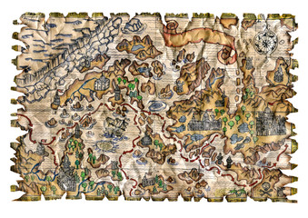 Isolated pirate map colorful