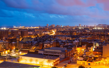 night view of Barcelona from Badalona