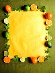 Orange,lime and mint leaf.frame