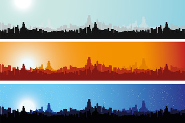 Illustrated Cityscape throughout the day