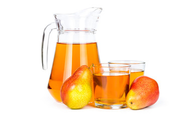 Fototapete - Pear juice in a glass jug
