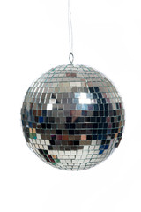 Silver, mirrored Disco ball on white