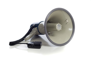 Gray bullhorn on white