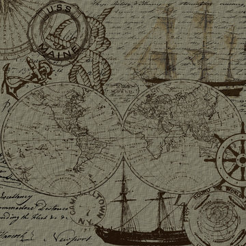 Sea voyage and nautical elements design