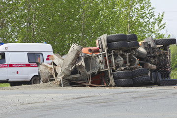 the result of a collision between two trucks
