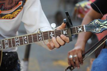 Close up guitar cowboy