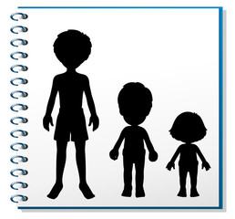 A notebook with an image of three humans