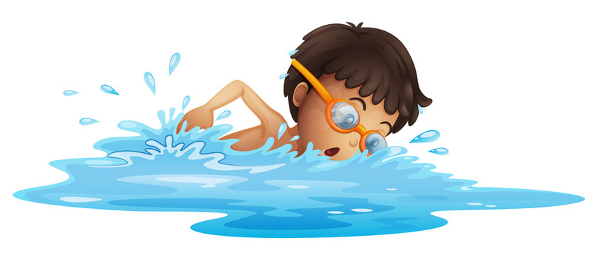 A young boy swimming with a yellow goggles