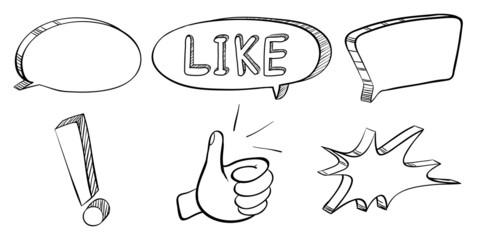 A doodle set of callouts and symbols