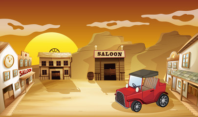A red jeepney outside the saloon
