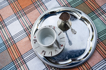 turkish coffee on a plate in a restaurant