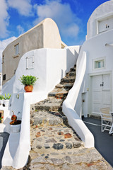 Stairway of typical troglodyte villa in Oia