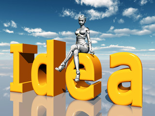 The word Idea with female Robot