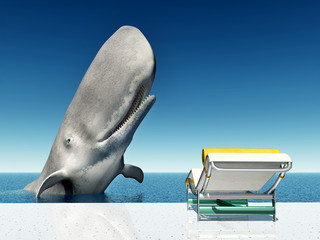 Urlaubsimpression mit Liegestuhl und Walfisch